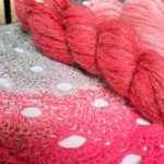 Handspun skeins and crochet by Lindsay Shaw